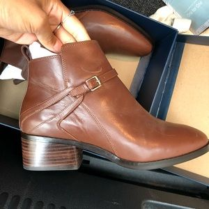 Cole Haan Etta Chestnut Leather Booties